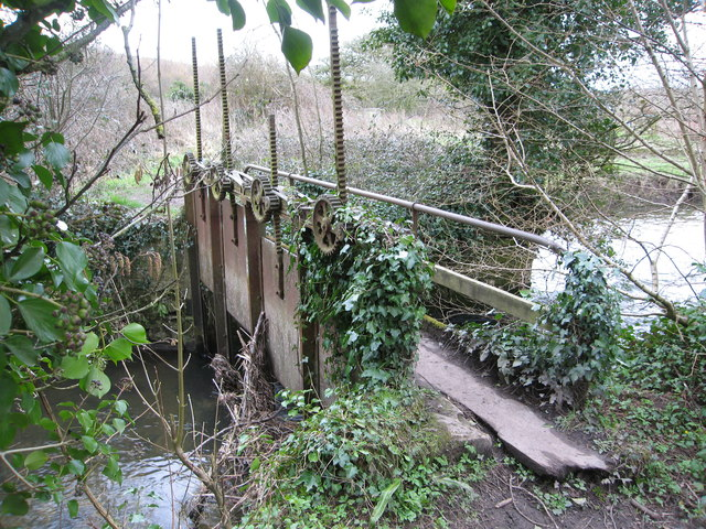 Unusual footbridge over old sluice gates