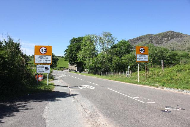 The A470 entering Blaenau Ffestiniog