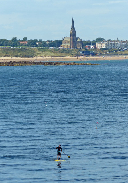 Paddle boarder at Tynemouth
