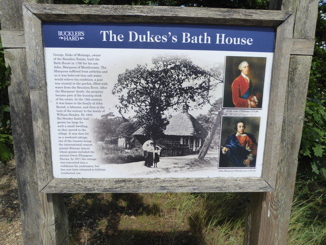 Information board at the Duke's Bath House, Buckler's Hard