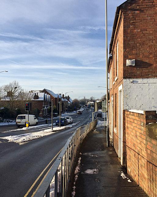 Emscote Road, Warwick, after snow