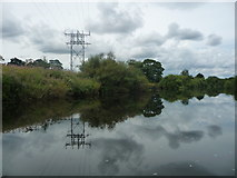 SE3766 : Power lines crossing the River Ure by Christine Johnstone