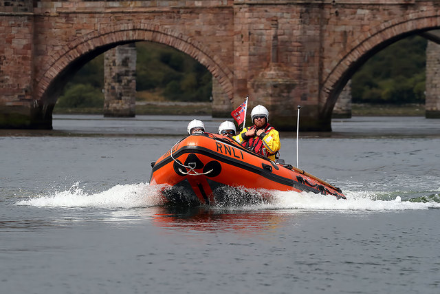A Berwick-upon-Tweed lifeboat on the River Tweed