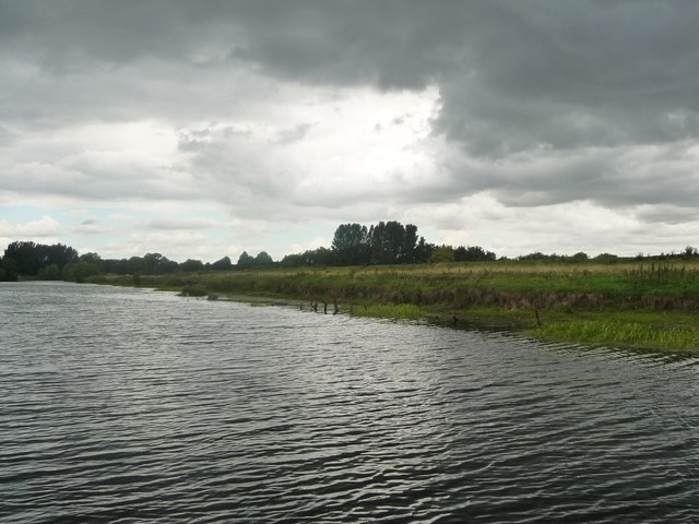 North bank of the River Ure, under dark rain clouds