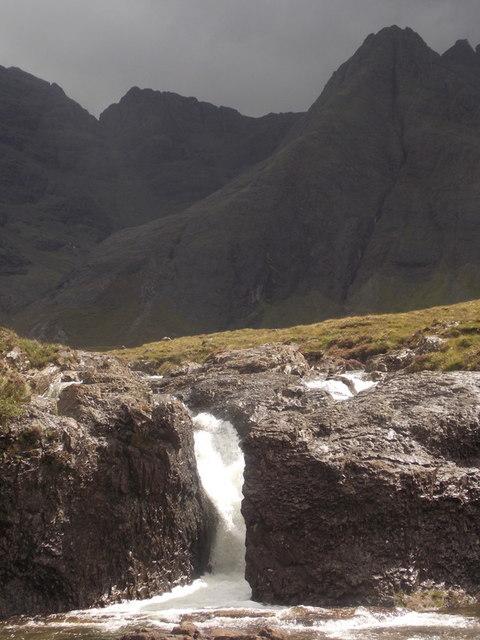 Glenbrittle: a sunlit waterfall