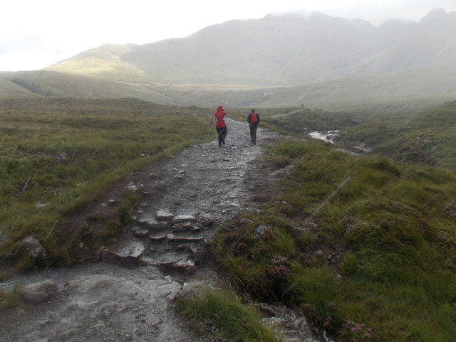 Glenbrittle: a heavy shower on the Fairy Pools path