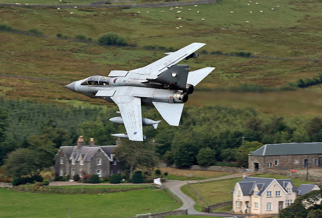A low flying RAF Tornado passing Kirkstead in the Scottish Borders