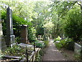 TQ2886 : Path alongside the grave of George Eliot in Highgate Cemetery by Marathon