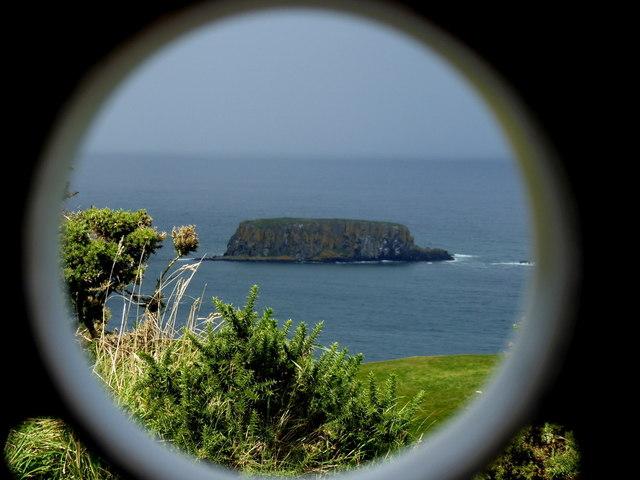 Sheep Island viewed through the telescope