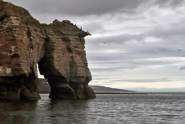 Needles Eye natural arch on the Berwickshire Coast
