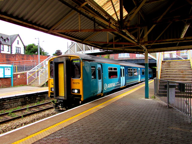 Penarth train arrives at Caerphilly station