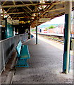 ST1586 : Turquoise bench on Caerphilly railway station by Jaggery