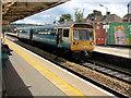 ST1586 : Rhymney train arrives at Caerphilly station platform 3 by Jaggery