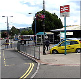 ST1586 : Bilingual railway station name sign, Station Terrace, Caerphilly by Jaggery