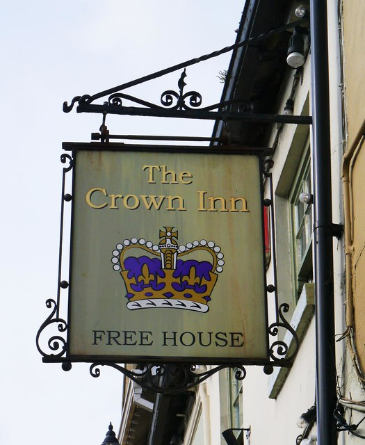 The Crown Inn - sign, High Street, Lechlade-on-Thames, Glos