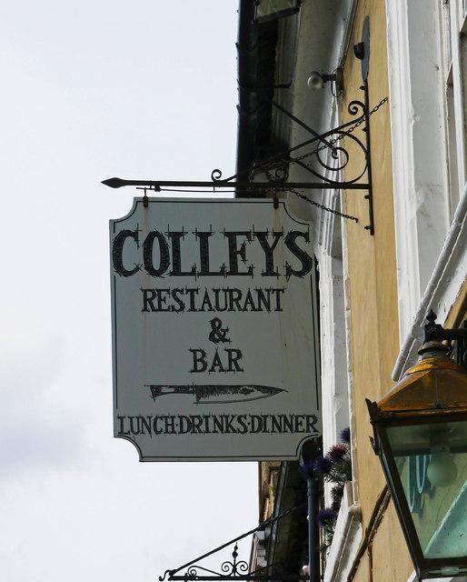 Colleys Restaurant & Bar - sign, High Street, Lechlade-on-Thames
