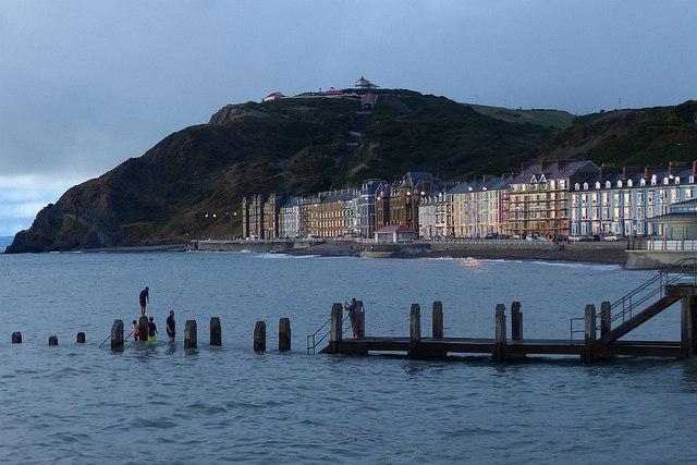 Evening activity on the slipway, Aberystwyth