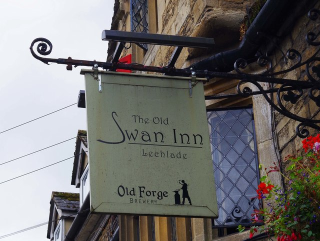 The Swan Inn (2) - sign, Burford Street, Lechlade-on-Thames, Glos