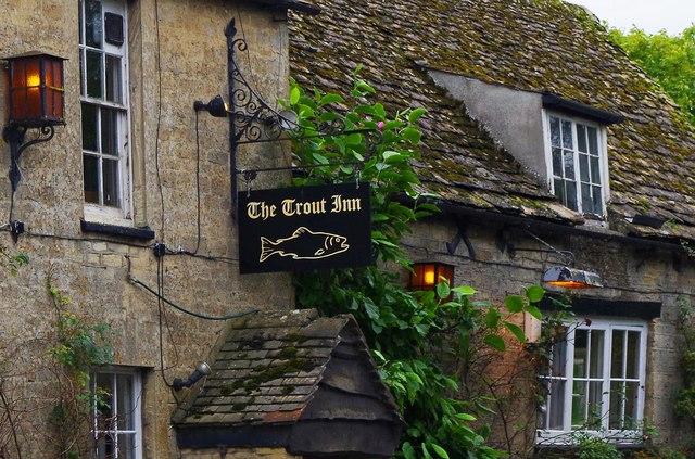 The Trout Inn (2) - sign, St.John's Bridge, Faringdon Road, Lechlade-on-Thames, Glos
