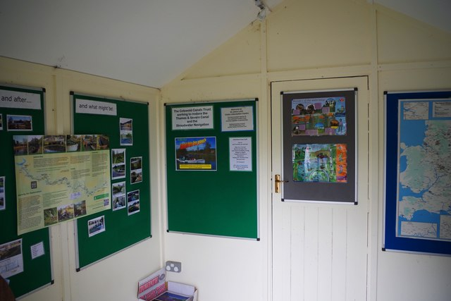 Inside the Cotswold Canals Trust information point, St. John's Lock, Lechlade-on-Thames, Glos