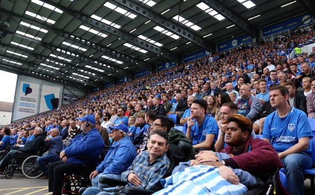 Pompey fans in the Fratton End at Fratton Park