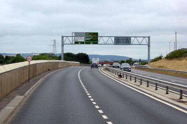 Overhead Sign Gantry on the South Devon Highway near Newton Abbot