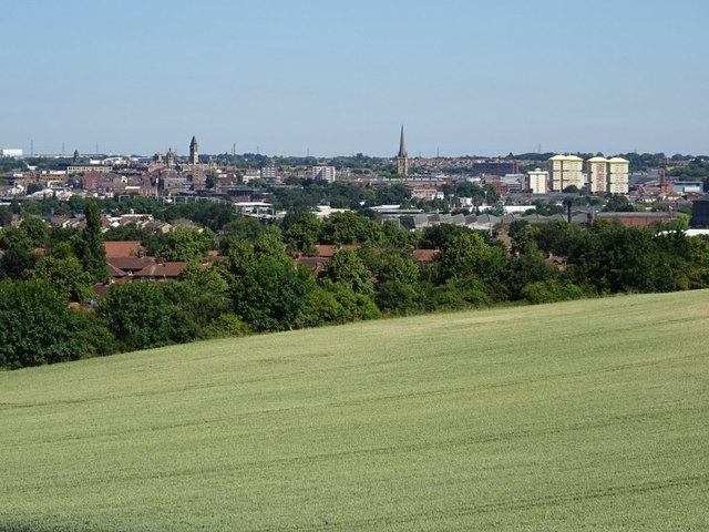 View to the city of Wakefield