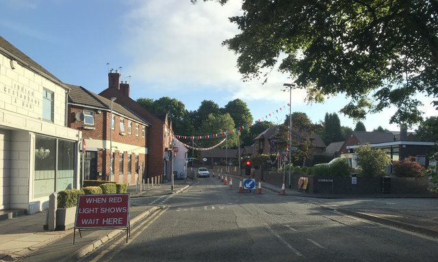 Temporary traffic lights in Audley