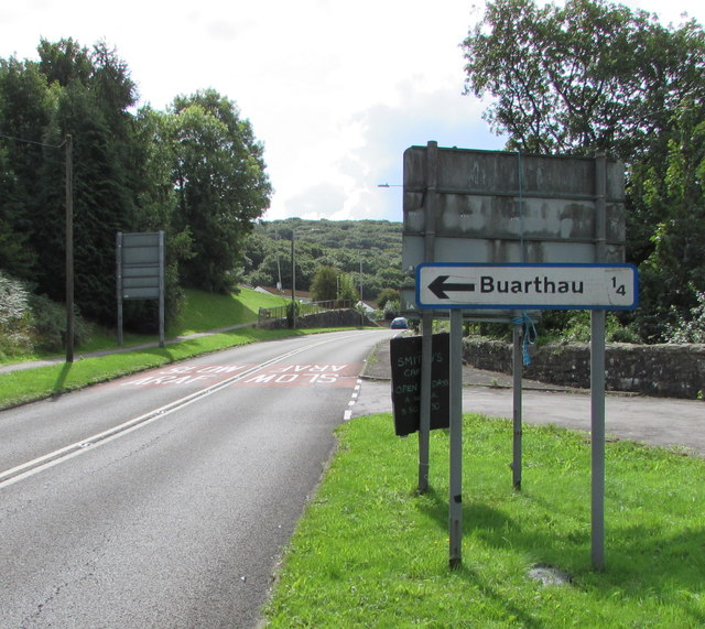 Buarthau direction and distance sign, Blackmill