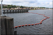ST1972 : Boom, for sluices in Cardiff Bay Barrage by M J Roscoe