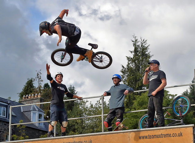 A BMX and skateboard display in Galashiels