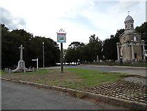 TM1131 : Mistley Village sign & War Memorial by Adrian Cable