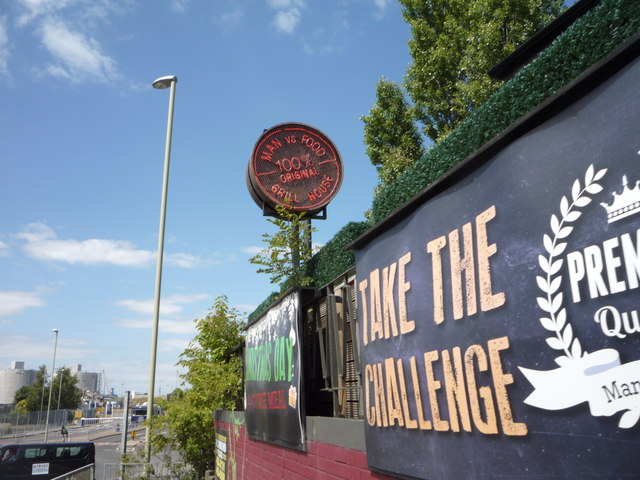 Sign for the Man Vs Food Grill House, South Shields