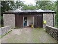 SJ1761 : Coed Moel Famau toilet block and defibrillator by John S Turner