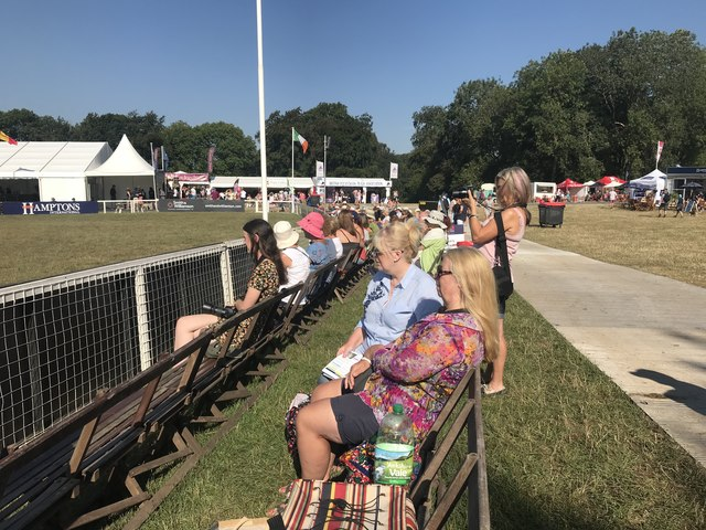 Watching the showjumping at Gatcombe