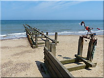 TG3930 : Groyne on the beach near Happisburgh by Mat Fascione