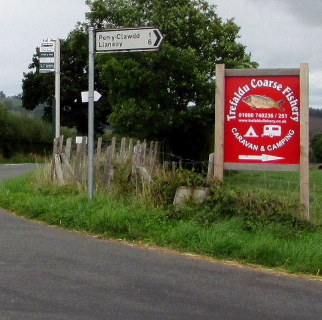 Trefaldu Coarse Fishery direction sign in rural Monmouthshire