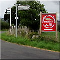 SO4609 : Trefaldu Coarse Fishery direction sign in rural Monmouthshire by Jaggery