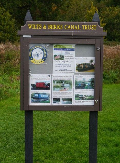 Wilts & Berks Canal Trust noticeboard, Templar's Firs, Royal Wootton Bassett, Wilts