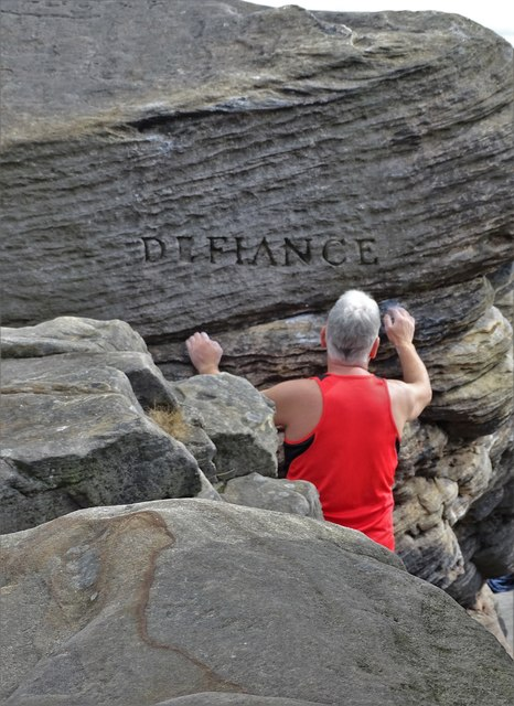 """""""Defiance"""" and a rock climber"""