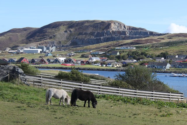 View of Scord Quarry across the East Voe of Scalloway