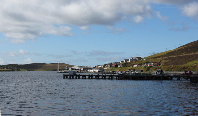 Scalloway harbour and pier (from Main Street)