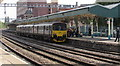 ST3088 : Portsmouth Harbour train at Newport station platform 1 by Jaggery