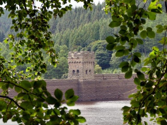 The west tower of Derwent Dam