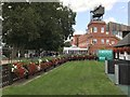 TL6161 : The winners enclosure and broadcaster's tower - The July Course, Newmarket by Richard Humphrey