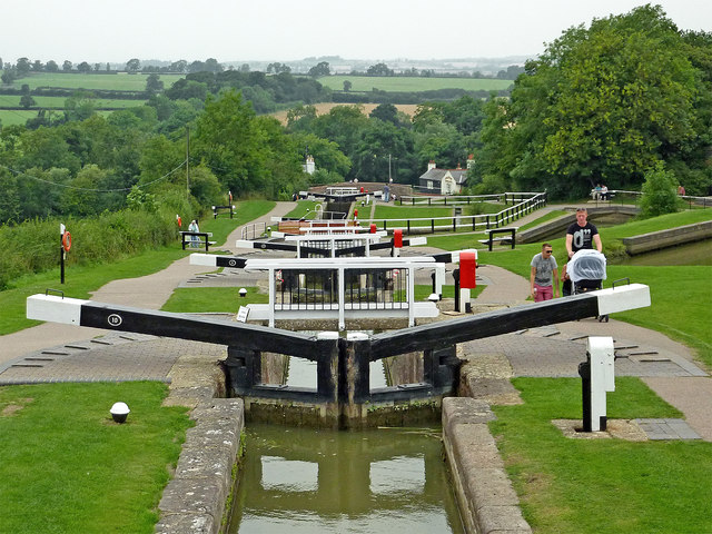 Staircase locks and farmland at Foxton in Leicestershire