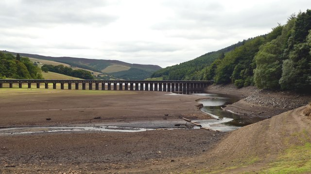 Pipe bridge over Ladybower Reservoir