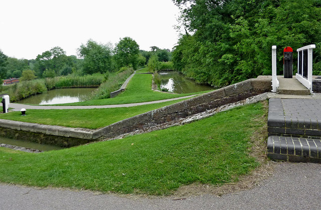 Footbridge and sideponds at Foxton Locks in Leicestershire