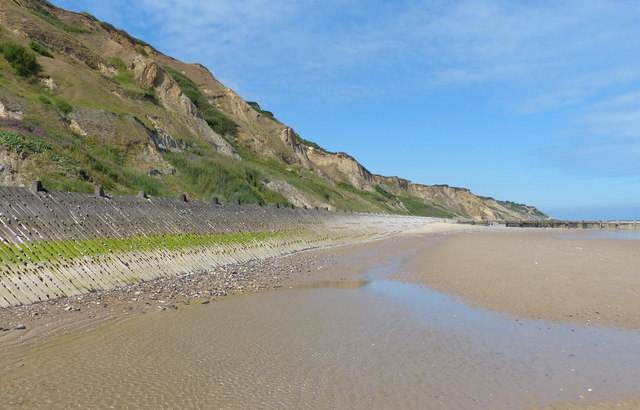 Cliffs and sea defences at Sidestrand