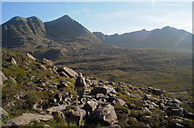NG9360 : Liathach seen ahead while descending from Coire Mhic Fhearchair by Julian Paren